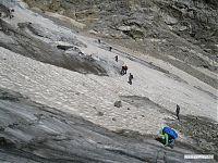 Передвижение по леднику в связках.