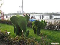 Современная живая скульптура на казанской набережной.