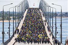 А это мы съезжаем с моста.