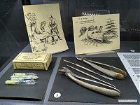 Банки по-партизански. Хирургические инструменты, трофейный шовный материал.