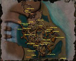 Карта Болотного лагеря с местоположением персонажей.