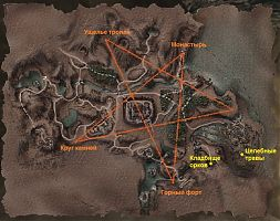 Карта с расположением юниторов и указанием квестовых мест.