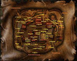 Карта Старого лагеря с местоположением персонажей.