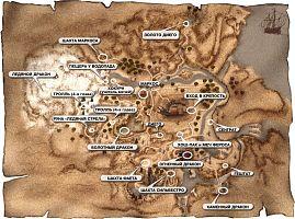 Карта Рудниковой долины (Миненталя) с указанием квестовых мест.