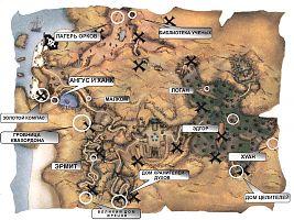 Карта Яркендара с указанием квестовых мест.