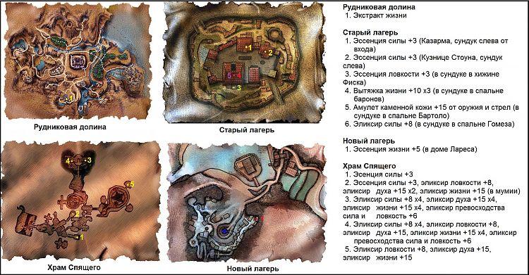 Карта расположения зелий и эликсиров в первой «Готике»