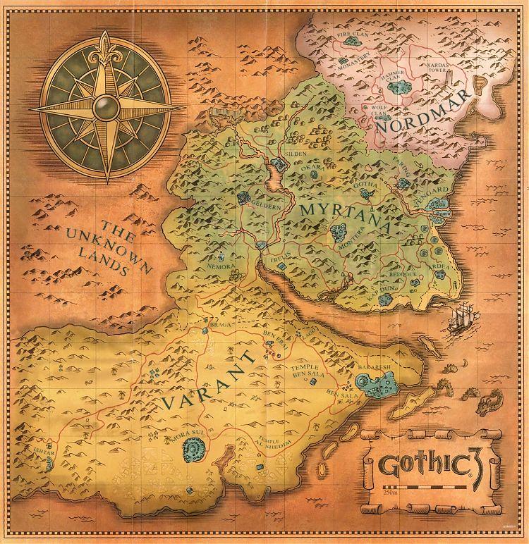 Карта Нордмара, Миртаны и Варанта.