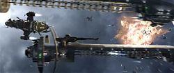 Кадры из космической битвы между Альянсом и Пожирателями.