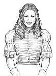 Кейли, набросок цветного рисунка Кейли в бальном платье.