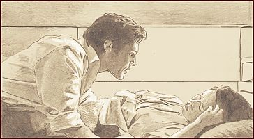 Simon & River (pilot). Trying somthing new Graphite and white chalk on sepia paper.