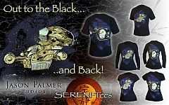 «Вдаль, во Тьму... и обратно!» — дизайн рубашки с «Серенити», для комик-кона 2010-го года.