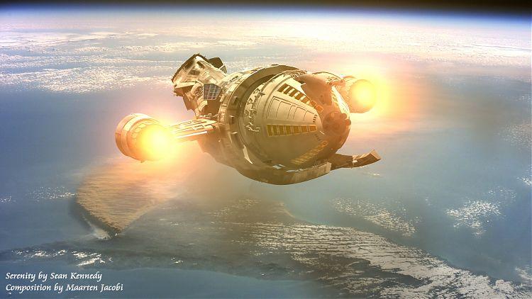 «Серенити» над планетой. Автор: Sean Kennedy