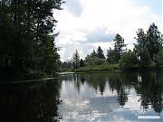 Отражение неба и леса в водной глади.