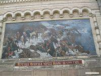 Настенная фреска-картина крупным планом, на которой изображено самое известное из достижений Суворова - переход через Альпы в 1799 году.