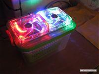 Собранный самодельный увлажнитель, вид 3/4. Подсветка работает.