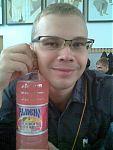Подарок от спонсоров, питьевая водичка забавного розового цвета. Вкус соответствует окраске.